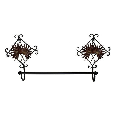 Metal Towel Rack - Decorative brown metal towel rack