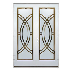 Sans Soucie Art Glass (door frame material Plastpro) - Glass Front Entry Door Sans Soucie Art Glass Arcs II - Sans Soucie Art Glass Front Door with Sandblast Etched Glass Design. Get the privacy you need without blocking light, thru beautiful works of etched glass art by Sans Soucie!  This glass is semi-private.  (Photo is view from outside the home or building.)  Door material will be unfinished, ready for paint or stain.  Bronze Sill, Sweep.  Satin Nickel Hinges. Available in other finishes, sizes, swing directions and door materials.  Tempered Safety Glass.  Cleaning is the same as regular clear glass. Use glass cleaner and a soft cloth.