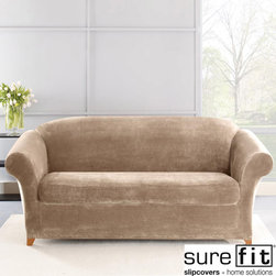 Sure Fit - Stretch Plush Sable Sofa Slipcover - This knit sofa slipcover looks and feels luxuriously comfortable. The fabric's thick,ultra-soft pile creates a cozy oasis within any style room and the high spandex content helps it maintain shape and contour to your furniture for a custom-like fit.