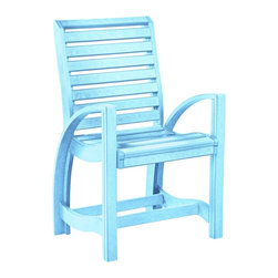 C.R. Plastic Products - C.R. Plastics St Tropez Dining Arm Chair in Aqua - Can be used for residential or commercial use, Ergonomically designed, Heavy 78 gauge plastic lumber 12 used by competitors, All stainless steel hardware, No painting, No slivers, No Rot, Completely waterproof