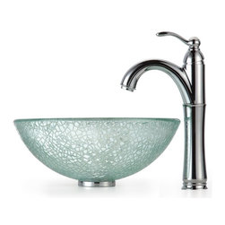 Kraus - Broken Glass 14 in. Vessel Sink and Rivera Faucet (Chrome) - Finish: Chrome
