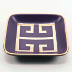 Greek Key Purple And Gold Tray - This purple and gold Greek key ceramic tray is a wonderful color combination.