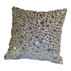 Artistic Sensations - Silver Gem Pillow 12 x 12 - Our glitzy gem pillow is made in sparkling silver gems and goes nicely with our Pink Zebra, Paris Tre Chic and Silver Girls Coverlet and Bedding Collection.