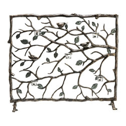 "SPI - Bird & Branch Fireplace Screen - -Size: 32.5"" H x 37.5"" W x 12"" D"