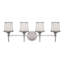 Savoy House - Savoy House Hagen Bathroom Lighting Fixture in Satin Nickel - Shown in picture: The Hagen family offers sleek - streamlined style that is modern and classic. This group has a timeless appeal with a lustrous Satin Nickel finish and soft white etched glass.