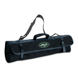"""Picnic Time - New York Jets 3-pc BBQ Tote in Black - The Metro BBQ Tote stands out among other portable barbecue tool sets. It's a 3-piece BBQ tool set with silicone handles in an attractive black polyester zip-up case with an adjustable shoulder strap to match the handles of the tools inside. It includes three stainless steel tools: 1 large spatula featuring a built-in bottle opener, grill scraper, and serrated edge for cutting (17.5"""") , 1 BBQ fork (17""""), and 1 pair of tongs (16.5""""). All three tools have long handles to keep your hands away from the flames and metal loops at their ends to hang them on your barbecue. Why not add a little color to your day with the Metro BBQ Tote?; Decoration: Digital Print; Includes: 1 (25"""") spatula with built-in bottle opener, 1 (18.75"""") pair of tongs, and 1 (19"""") fork"""