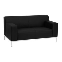 Flash Furniture - Hercules Definity Series Contemporary Black Leather Love Seat with Stainless Ste - This contemporary black leather reception love seat features a back that slightly protrudes pasts the arms and stainless steel legs that elevate it off the ground. This love seat will adapt in a variety of environments with its clean line appearance, thick fixed cushion seats and overall comfort level.