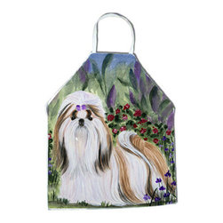 Caroline's Treasures - Shih Tzu Apron - Apron, Bib Style, 27 in H x 31 in W; 100 percent  Ultra Spun Poly, White, braided nylon tie straps, sewn cloth neckband. These bib style aprons are not just for cooking - they are also great for cleaning, gardening, art projects, and other activities, too!