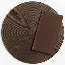 "Origin Crafts - Chocolate hemstitch napkins set of 4 - Chocolate Hemstitch Napkins Set of 4 Napkins & Placemats sold separately. Sets of four. 100% cotton. Machine wash cold separately; tumble dry low. Dimensions: Napkins - 20"" x 20"" By Tag Ltd. - Tag Ltd. is a supplier of decorative accessories. Ships out in 2-3 Business Days."