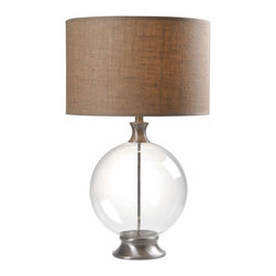 Kenroy - Kenroy KR-32274GBS Constellation Table Lamp - A contemporary style lamp with a coastal touch. Constellation offers cool Brushed Steel and large globe glass base that is visually weightless but carries a ton of style. This burlap top lamp is fitted for modern comfortable settings.