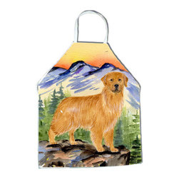 Caroline's Treasures - Golden Retriever Apron SS8163APRON - Apron, Bib Style, 27 in H x 31 in W; 100 percent  Ultra Spun Poly, White, braided nylon tie straps, sewn cloth neckband. These bib style aprons are not just for cooking - they are also great for cleaning, gardening, art projects, and other activities, too!