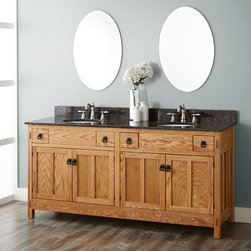 """72"""" Mission Hardwood Double Vanity for Undermount Sinks - 4 Top Drawers - Maximize storage in your master bath for you and a partner with the 72"""" Mission Hardwood Double Vanity. This piece exemplifies late-19th century style with quality mortise and tenon joints and minimalist lines."""
