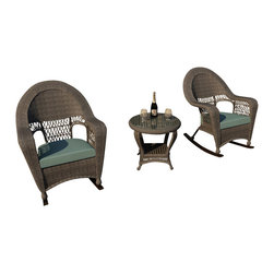 Forever Patio - Catalina 3 Piece Rattan Rocking Chat Set, Heather Wicker, Spa Cushions - The 3 Piece Catalina Rocking Chat Set with Turquoise Sunbrella® Cushions (SKU FP-CAT-3RCH-HT-SP) provides the perfect place to unwind out on your patio or deck, and will add a touch of traditional elegance to your outdoor d_cor as well. This set features Heather Round wicker with a full round design that creates a complex and luxurious look. Every strand of this wicker is made from High-Density Polyethylene (HDPE) and is infused with its natural color and UV-inhibitors that prevent cracking, chipping and fading ordinarily caused by sunlight. The set is supported by a thick-gauged, powder-coated aluminum frame that makes it extremely durable and resistant to corrosion. Also included are cushions covered in fade- and mildew-resistant Sunbrella® fabric. Find time to escape the hustle and bustle with this wonderfully designed rocking chat set.