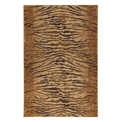 """Karastan - Carmel Palmero Chestnut Animal Print Tiger Leapord 9'6"""" x 12'11"""" Karastan Rug - Floral motifs, sophisticated graphic patterns and modern damasks take center stage in the Carmel collection. Styled for today's relaxed living these fashion inspired patterns feature color palettes that are decorator friendly and offer the consumer an easy decorating choice."""