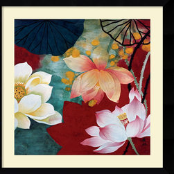 None - Hong Mi Lim 'Lotus Dream I' Framed Art Print - This authentic and original framed art print comes courtesy of renowned artist Hong Mi Lim, and features close-ups of colorful lotus flowers from many different angles. The print comes in a black frame and is ideal for decorating any room.