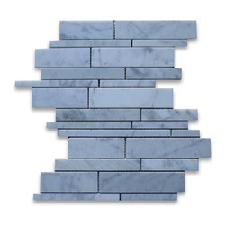 "Stone Center Corp - Carrara Marble Random Strip Modern Brick Mosaic Tile Polished - Carrara white marble random size pieces mounted on 12"" x 12"" sturdy mesh tile sheet"
