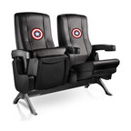 Dreamseat Inc. - Captain America Shield Row One VIP Theater Seat - Double - Check out these fantastic home theater chairs. These are the same seats that are in the owner's VIP luxury boxes at the big stadiums. It has a rocker back and padded seat, so it's unbelievably comfortable - once you're in it, you won't want to get up. Features a zip-in-zip-out logo panel embroidered with 70,000 stitches. Converts from a solid color to custom-logo furniture in seconds - perfect for a shared or multi-purpose room. Root for several teams? Simply swap the panels out when the seasons change. This is a true statement piece that is perfect for your Man Cave, Game Room, basement or garage.