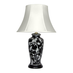 Oriental Furniture - White Blossoms Porcelain Lamp - Beautiful oriental flower vase lamp with white Japanese plum blossoms on a black glazed background. Simple Asian art decorative motif compliments both traditional and modern decor. Includes Rosewood lamp base and fine fabric bell shade configured as shown.
