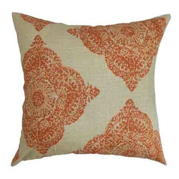 The Pillow Collection - Daganya Orange 18 x 18 Patterned Throw Pillow - - Pillows have hidden zippers for easy removal and cleaning  - Reversible pillow with same fabric on both sides  - Comes standard with a 5/95 feather blend pillow insert  - All four sides have a clean knife-edge finish  - Pillow insert is 19 x 19 to ensure a tight and generous fit  - Cover and insert made in the USA  - Spot clean and Dry cleaning recommended  - Fill Material: 5/95 down feather blend The Pillow Collection - P18-D-21038-TERRACOTTA-C100