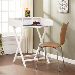 Upton Home - Upton Home Marion White Folding Craft/ Student Desk/ Table - This portable and convenient Marion white folding craft desk features a generous workspace, three storage cubbies, and folds up easily when not in use. The painted white finish makes it perfect for contemporary and transitional styled homes.