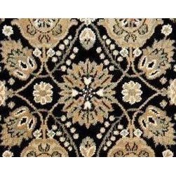"Couristan - Royal Kashimar 8132-B606A-Black 2'7"" x 9 "" - Premium Single Stair Treads - Royal Kashimar 8132-B606A-Black 2.7 x 9 Inches Rug Depot Premium single Treads - Buy the amount of treads you require."