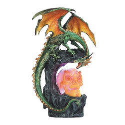 GSC - 13.5 Inch Green Dragon Protects Skull, LED Light - This gorgeous 13.5 Inch Green Dragon Protects Skull, LED Light has the finest details and highest quality you will find anywhere! 13.5 Inch Green Dragon Protects Skull, LED Light is truly remarkable.