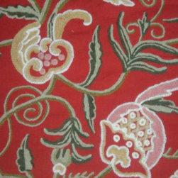 Crewel Fabric World by MDS - Crewel Fabric Ballard Red Cotton Dasoot- Yardage - Fabric Type:Cotton Dasoot