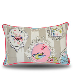 Yellow Boat Pillow Company - Melissa Pillow - Graceful design with charismatic colors!  Solid white back with hot pink trim.  17x26 inches with fabric covered edge trim.  Luxurious feather/down insert included.  Exceptional fabric provides perfect high quality compliment to your furniture!  Removable cover with hidden zipper closure. Made in the USA.