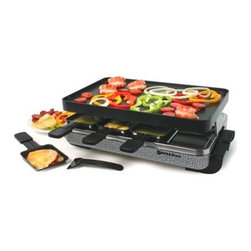 Swissmar - Swissmar Eiger 8 Person Raclette with Reversible Grill Plate - 8-Heat Resistant Spatulas Beautiful stamped steel body Reversible Non Stick reversible grill top. Perfect for grilling and making crepes. Variable heat control 8 Raclette dishes included Variable temperature control 1200 Watts 1-Year warrantyNote: do not use cooking spray on grill top surface or on raclette dishes.