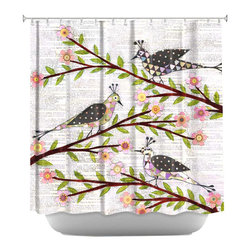 DiaNoche Designs - Whimsical Birds Shower Curtain - Sewn reinforced holes for shower curtain rings. Shower curtain rings not included. Dye Sublimation printing adheres the ink to the material for long life and durability. Machine washable. Made in USA.