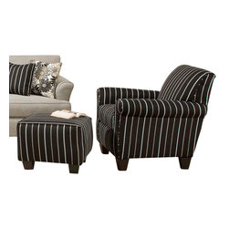 Chelsea Home Furniture - Chelsea Home Daisy Striped Accent Chair and Ottoman in Ellington Ebony - Daisy Striped Accent Chair and Ottoman in Ellington Ebony belongs to the Chelsea Home Furniture collection