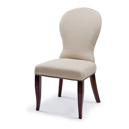 Kathy Kuo Home - Bunyan Rustic Lodge Natural Linen Upholstered Dining Chair - The hourglass shape of a saddle back chair meets the sleek durability of natural linen in this stylish and functional side chair. Perfect in bachelor pads, industrial lofts and contemporary spaces where style and comfort are equally valued.