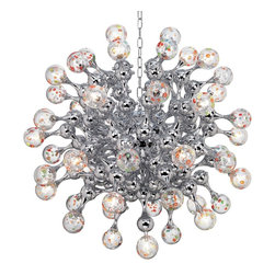 "Possini Euro Design - Centauri Chrome Halogen Glass Globe Pendant Chandelier - This glass and chrome finish large modern chandelier is a mass of softly rounded forms. The design features over 40 small glass globes decorated with spots of color reminiscent of millefiori style glass. Twenty-five halogen lights scattered throughout the chandelier illuminate it bringing this look to life. 70 1/2 pound hang weight. We recommend using a ceiling reinforcement if necessary. From the Possini Euro Design Lighting Collection. Chrome finish. Millefiori-style glass. Includes twenty-five 10 watt halogen bulbs. 32"" wide. Comes with Electronic transformer. Includes 4 feet chain and 5"" round canopy. 7 feet 8"" overall hang height. 70.55 pound hang weight. Includes twenty-five 10 watt halogen bulbs.  Chrome finish.  Millefiori-style glass.  Over 40 glass globes.   With 25 halogen lights.  Comes with Electronic transformer.   From the Possini Euro Design collection.   A stylish large chandelier.  Includes twenty-five 10 watt halogen bulbs.   32"" wide. 32"" high.  7 foot 8"" overall height.  Includes 4 feet chain.  5"" round canopy.   Weighs 70 lbs."
