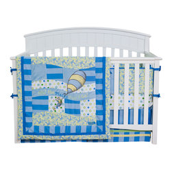 Trend Lab - Oh the Places You'll Go Blue 4-Piece Crib Bedding Set - Hello, Dreamland — what's new? This cool crib set just for you! Comfy, colorful and soft, with a big balloon to send it aloft.