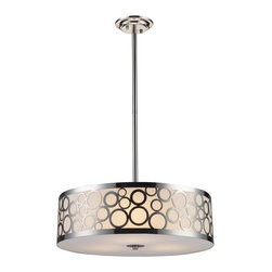 """Elk Lighting - Retrovia Modern Three-Light Metal & Opal Glass Pendant Light - During The 1950'S, There Was A Renewed Sense Of Style And Design From Consumer Products To Fashion And Beyond. This Design Movement Coined The Term """"Mid-Century Modern"""" Which Became A Leading Design Movement. Finished In Polished Nickel, This Pendant Embodies The Excitement Of The Time Period With Laser Cut Circles, Opal Etched Cylindrical Glass, And A White Diffuser That Accents The Drum. This Fixture Accommodates Three (3) 60 Watt Bulbs With A Medium Base, Which Are Not Included. It Weighs Eight (8) Pounds. Included With The Pendant Are: (1) 6"""" and (2) 12"""" Extension Rods With Hang-Straight."""