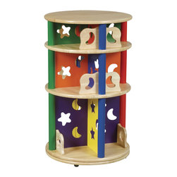 Guidecraft - Guidecraft Moon and Stars - Media Storage Carousel - Guidecraft - Kids Bookcases - G98040 - Cheerful primary colors and whimsical moon and star cut-outs highlight this fun and versatile collection. Perfect to store books videos CD's and DVD's. Rotates on its base to provide easy access.