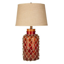 Surya - Amalfi Poppy Red Nautical Fillable Lamp - Beach cottage perfect lighting accessory!  A lovely shade of poppy red makes up this 30 inch tall Amalfi Glass lamp covered with nautical style netting and finished with a beachy feeling round all-natural burlap fabric shade.