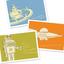 Outer Space Art - Lunastrella Robot, Space Station and Flying Saucer 8x10 Set of