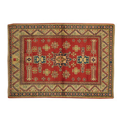 100% Wool Kazak 4'x6' Tribal and Geometric Design Hand Knotted Rug SH16657 - This collections consists of well known classical southwestern designs like Kazaks, Serapis, Herizs, Mamluks, Kilims, and Bokaras. These tribal motifs are very popular down in the South and especially out west.