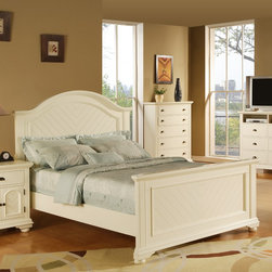 None - Napa White Twin-size Bed - Give your bedroom a new lease of life with this classy white twin-size bed. Featuring a sturdy wood construction and a chevron veneer finish,it offers quality and durability. The beds cottage-inspired design is sure to complement your existing decor.