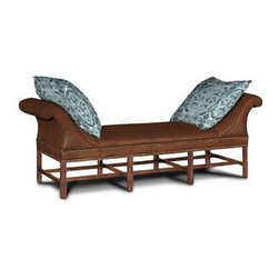 Fabulous Finds - Hickory Chair Double Chaise - Imagine this beautiful double chaise covered in a butter soft caramel color leather.  The curved arms, nail head trim, leg detail and large soft pillows make this an inviting piece for reclining.  Sit back and relax!