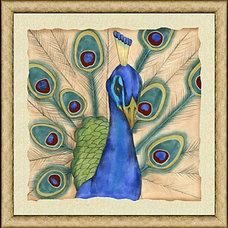 Hand-Embellished Peacock Close Print I