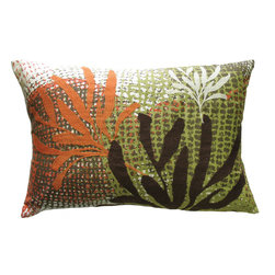 """KOKO - Ecco Pillow, Rust/Brown Leaves, 13"""" x 20"""" - The light and color on this pillow make it pretty as a picture. Just imagine the underwater wonderland happening within the coral reef. This bit of nature would look great on a sofa with a neutral color palette."""