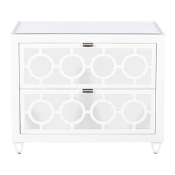 Worlds Away - Worlds Away White Lacquer and Mirror 2-Drawer Nightstand BARKLEY WH - White Lacquer and Mirror 2 Drawer Nightstand with Inset Beveled Mirror Top. All Drawers On Glides.