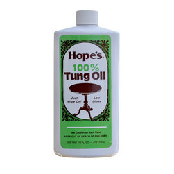 "The Hope Company - The Hope Company 100% Tung Oil 16oz - For a hand-rubbed low gloss finish; Tung oil is an exotic, naturally drying oil imported from South America and China and is recognized by craftsmen to be the ""ultimate"" drying oil for all fine woods. Unlike other finishes that sit on the wood's surface, tung oil penetrates deep into wood fibers, cures, and actually becomes part of the wood. Forms a low gloss ""hand rubbed"" finish that's not only beautiful, but remarkably durable. Resistance to moisture is truly amazing. Oil is not thinned or diluted, it is pure 100% tung oil."