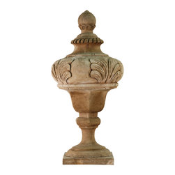 Kathy Kuo Home - Victory French Country Wooden Decorative Finial - Defy tradition and accessorize not your bed post or clock but your antique console with this stunning hand-carved finial in poplar wood. Large acanthus leaves carved into the body give a regal air to this otherwise rustic decorative piece.