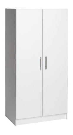 """Prepac - Prepac Elite Storage 32"""" Wardrobe Cabinet - Prepac - Wardrobe Armoires - WEW3264 - The Elite 32"""" Wardrobe Cabinet is welcome in any part of the house either as a stand-alone product or when combined with other pieces in the Elite Collection. The hanging rail is ideal for storing jackets coats and other hanger-friendly clothing while the fixed top shelf suits hats scarves and other small items. Increase storage space by adding the optional Elite 32"""" Stackable Wall Cabinet (sold separately) on top for a total of 89 vertical inches of storage."""