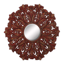 Paragon - Aged Red Ornate - Mirrors Decorative - Each product is custom made upon order so there might be small variations from the picture displayed. No two pieces are exactly alike.
