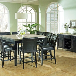 Steve Silver Co. - Monarch Marble Top Counter Height Table Set w - Includes Table top, Table base, 8 Chairs & Server. Beautiful marble top. Comfortably seats 8. Multi-step Black finish. Contemporary style. Corner block construction. Tongue and groove joints. Select hardwood solids material. Some assembly required. Tufted black leather upholstery. 24 in. seat height. Table: 54 in. L x 54 in. W x 36 in. H (237 lbs.). Chair: 25 in. L x 19 in. W x 40 in. H. Server: 56 in. W x 18 in. D x 34 in. H (165 lbs.)