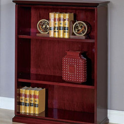 Office Star - Home/Office Three-Shelf Bookcase in Wood - Me - Color: MahoganyMade of Wood. Bookcase/Open Hutch. Complex Shape. Enhanced Features include Legal-Width Desk Pedestals, Austere 80 in. H. Pictured in Mahogany. Some assembly required. 36 in. W x 16 in. L x 49 in. H